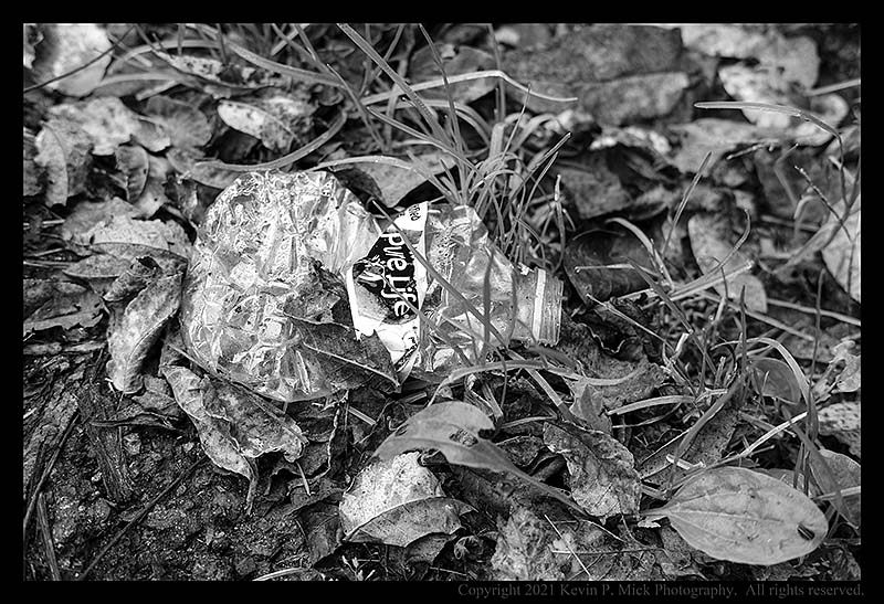 BW photograph of a crushed plastic bottle laying in the grass.