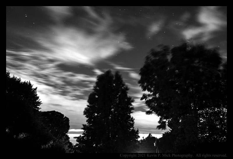 BW photograph of the early morning as Ida was blowing away.